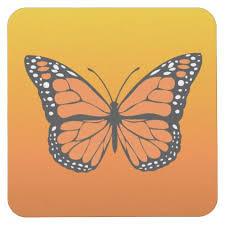 vibrant orange ombre monarch butterfly square paper coaster cool