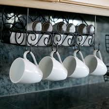 under cabinet coffee mug rack scroll under the cabinet 3 compartment coffee pod and mug storage
