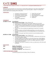 Good Resume Experience Examples by Social Work Resume Sample Berathen Com