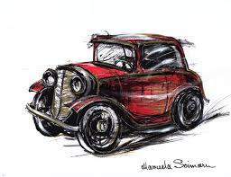 philippine jeep drawing classic car illustration drawing original art print car