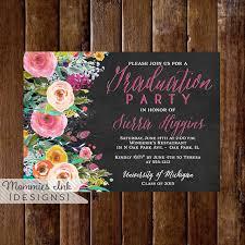 graduation open house invitation graduation party invitation watercolor flowers invitation floral