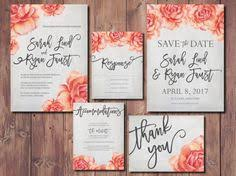 coral wedding invitations peonies wedding invitation suite watercolor wedding