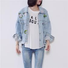 light bomber jacket womens wholesale light blue denim jacket women embroidered bomber denim