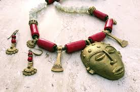 ethnic necklace jewelry images African mask long tribal necklace red white gold ethnic necklace JPG