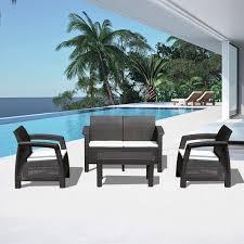 outsunny 4 piece patio set all weather sofa outdoor garden furniture