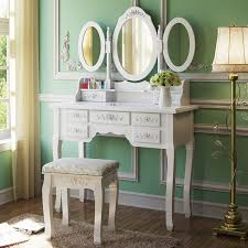 tribesigns makeup vanity table set with 3 mirror and stool bedroom