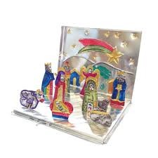 fold up painted mexican tin nativity box large products