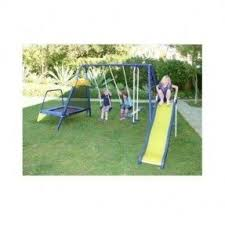 Metal Backyard Playsets Metal Swing Set With Trampoline Trampoline For Your Health