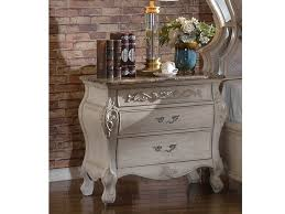sanctuary antique white 3 drawer nightstand