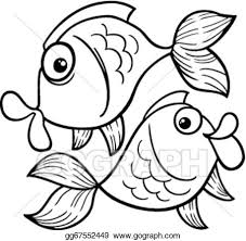 vector stock zodiac pisces fish coloring clipart