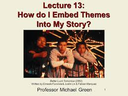 themes for my story 1 lecture 13 how do i embed themes into my story professor michael