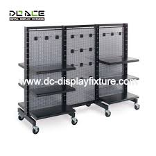 Black Gondola Shelving by Convenience Store Metal Display Racks With Double Sided Shelving