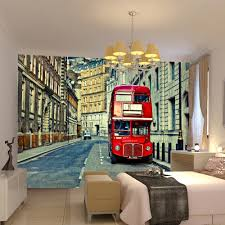 wallpaper line picture more detailed picture about high quality high quality modern desgin london bus 3d removable wall mural wallpaper photo self adhesive room