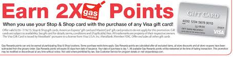 gas gift card deals 2x gas points at stop shop on visa gift card purchases 6 26 7