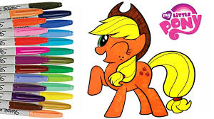 my little pony applejack coloring book pages how to color youtube