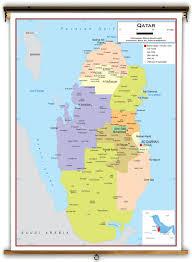 Doha Qatar Map Qatar Political Educational Wall Map From Academia Maps