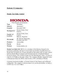 honda siel cars india ltd greater noida project report industry analysis
