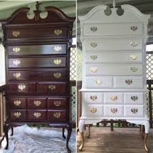 Bedroom Furniture Painted With Chalk Paint Modernized This Beautiful Queen Anne Highboy Dresser White And