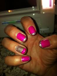 glittery french manicure with one accent nail the opposite way