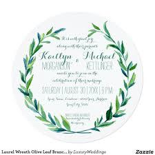 Olympic Invitation Cards Laurel Wreath Olive Leaf Branch Modern Round Invitation Spring
