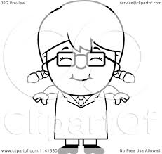 cartoon clipart of a black and white happy scientist vector