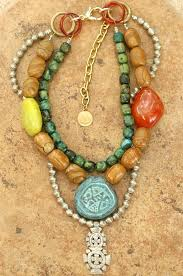 multi stone cross necklace images Multi strand bohemian stone metal ethiopian cross statement necklace jpg
