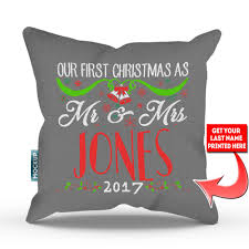 mr and mrs pillow personalized our christmas as mr and mrs throw pillow