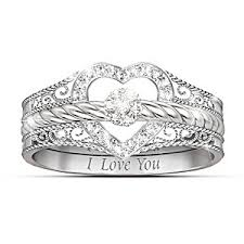 3 diamond rings i you heart shaped diamond stacking rings