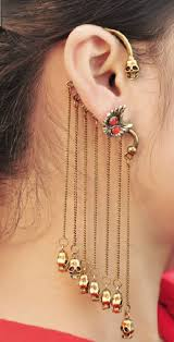 cuff earrings with chain chain and skull charms ear cuff rings tings online fashion