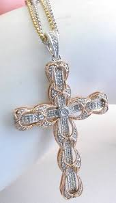rose cross necklace images Diamond cross necklace in 14k rose and white gold with diamonds by jpg