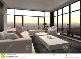 Loft Living Room by Modern Loft Living Room With Sunset Sunrise View Royalty Free