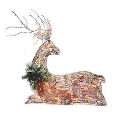 sylvania grapevine laying deer lawn decoration lighted
