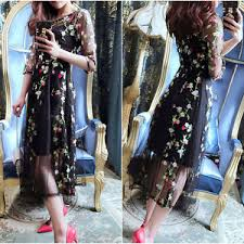 summer bobo floral embroidery lace maxi transparent mesh party