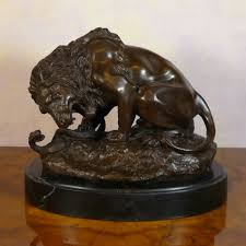 barye lion sculpture lion and serpent bronze statue animal bronzes