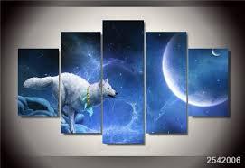 chambre de d馗ompression hd imprimé magique blanc loup groupe peinture impression sur toile