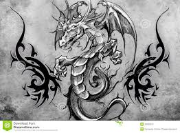 medieval dragon tattoo design over grey background textured bac