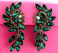 emerald green earrings vintage costume estate antique jewelry earrings juliana emerald