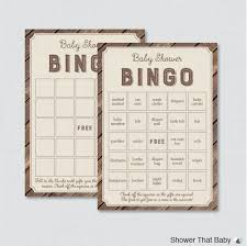 rustic baby shower bingo cards printable blank bingo cards