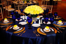yellow and royal blue wedding decor decorating of party