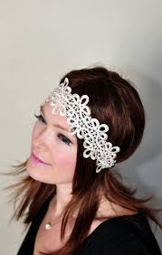 vintage headbands lace headband ivory gold hair band beige headwrap stretch