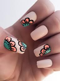 flower fake nails nail polish coral nails acrylic