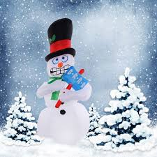 Outdoor Lighted Snowman Gym Equipment Christmas Inflatable Snowman Gemmy Lighted Decor