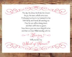 will you be my bridesmaid poems matron honor poem etsy