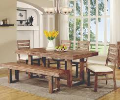 rustic dining table with bench coaster elmwood rustic table and chair set with dining bench value