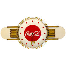 coca cola art deco style wall clock for sale at 1stdibs