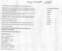 english class 5 blog worksheet paf juniors