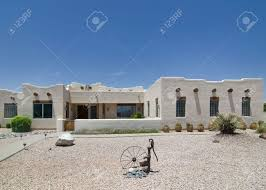 Ranch Style Mansions Adobe Ranch Style Home In Southwest Usa Stock Photo Picture And