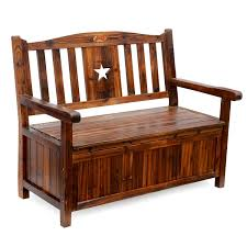 songsen wooden storage bench with arm and back garden photo with