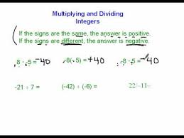 multiplying and dividing integers positive and negative numbers