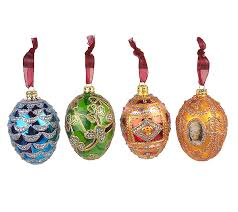 joan rivers set of 4 fabergeinspired ornaments qvc